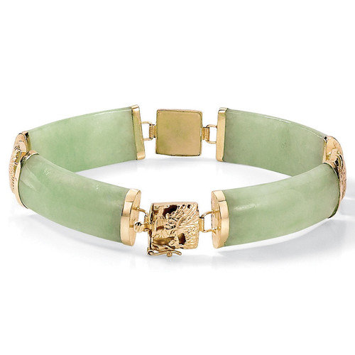 Palm Beach Jewelry Green Jade Link Bracelet