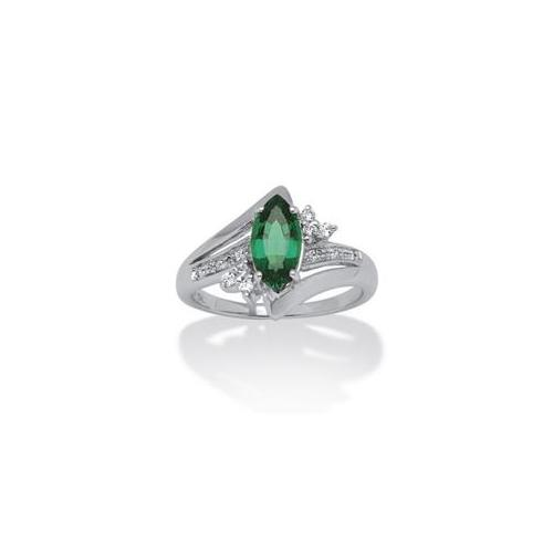 PalmBeach Jewelry 529928 1. 52 TCW Marquise-Cut Lab Created Emerald and Round Cubic Zirconia Accent Ring in Platinum over