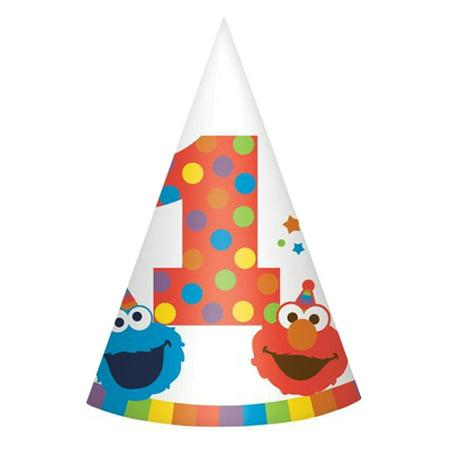 Sesame Street 1st Birthday 'Elmo Turns One' Cone Hats (8ct) (Street Cones)