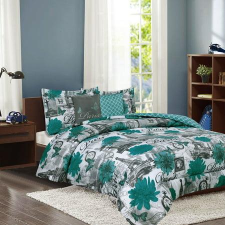 Paris Bedding Full/Queen Comforter 5 Piece Bed Set Eiffel Tower Teal Blue Flower - Flower Bed Set