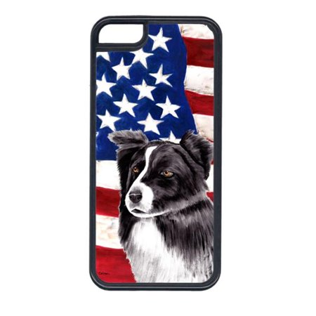 Carolines Treasures SC9009IP5C USA American Flag With Border Collie Iphone 5C Cover - image 1 of 1