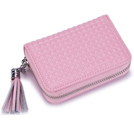 Women's RFID Blocking Genuine Leather Secure Credit Card Holder Zipper  Wallet