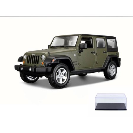Diecast Car & Display Case Package - 2015 Jeep Wrangler Unlimited, Green - Maisto 31268GN - 1/24 Scale Diecast Model Toy Car w/Display -