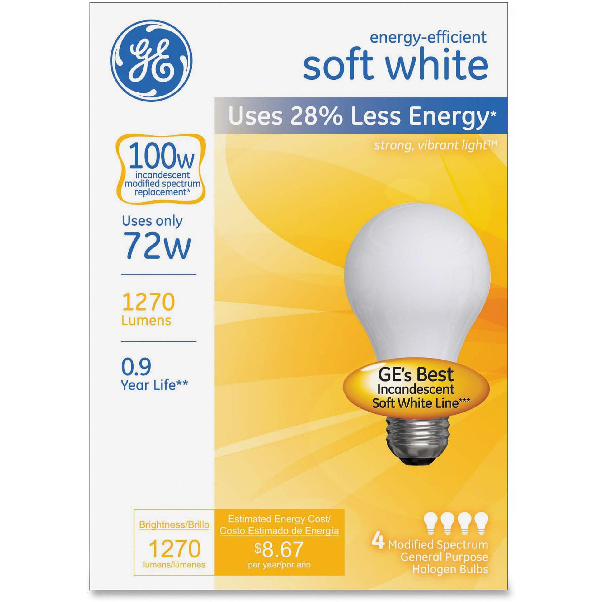 GE, GEL66249, Lighting Energy-eff Soft White 72W A19 Bulb, 4 / Box