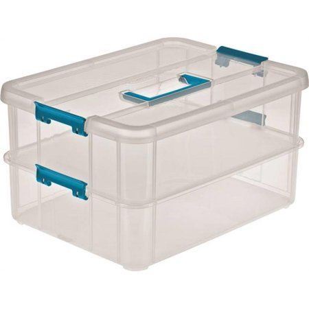 Sterilite 14228604 Stack/Carry Tray Organizer With Blue Aquarium Latches and Handles, 14-3/8 in L x 10-3/4 in W per 4 EA