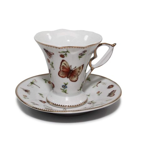 Royalty Porcelain 12-pc Miniature White Butterfly Coffee Set for 6, 24K Gold