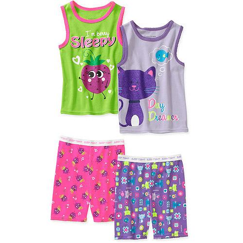 Faded Glory Baby Girls' 4 Piece Tank and Short Pajama Set