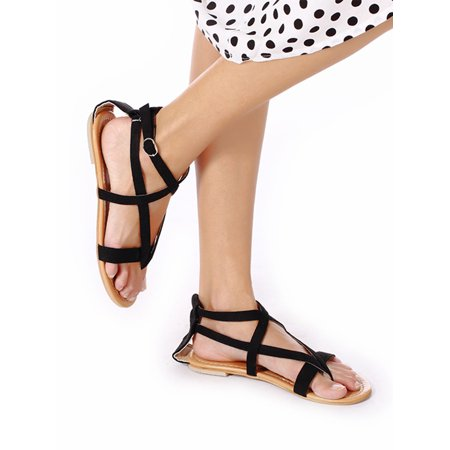 d55951ba737569 NK FASHION - Womens Cross Strap Sandals Flip Flop Ankle Buckle Gladiator  Summer Braided Flat Shoes Black Beige - Walmart.com
