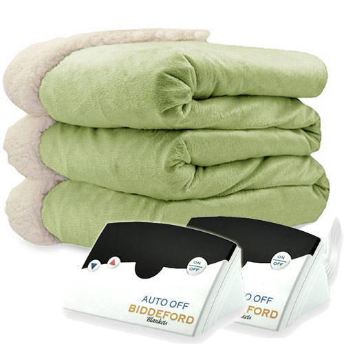 Biddeford Blankets Micromink Sherpa Electric Heated Blanket