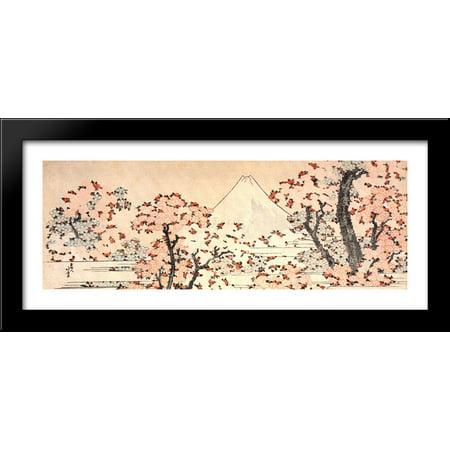 Mount Fuji seen throught cherry blossom 40x16 Large Black Wood Framed Print Art by Katsushika Hokusai ()