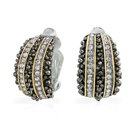 Bali Style Beaded Caviar 2 Tone Crystal Half Hoop Clip On Earrings Silver Plated Beaded Silver Tone Earrings
