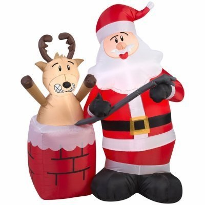 Christmas Inflatile LED 4' Santa Prying Stuck Reindeer Out of Chimney Airblown Yard Decoration By Gemmy