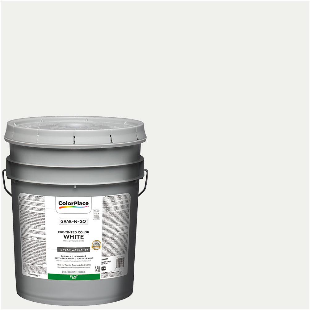 ColorPlace Pre Mixed Ready To Use, Interior Paint, White, Flat Finish, 5 Gallon