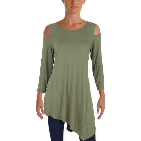 Boatneck Jersey Tunic - Alison Andrews Womens Jersey Asymmetrical Tunic Top