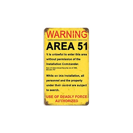 Area 51 Vintaged Metal Sign      By Past Time Ship From Us