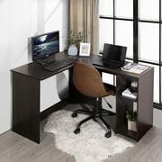 FurnitureR Home Office Corner Desk L shape Computer Desk, Dark Brown