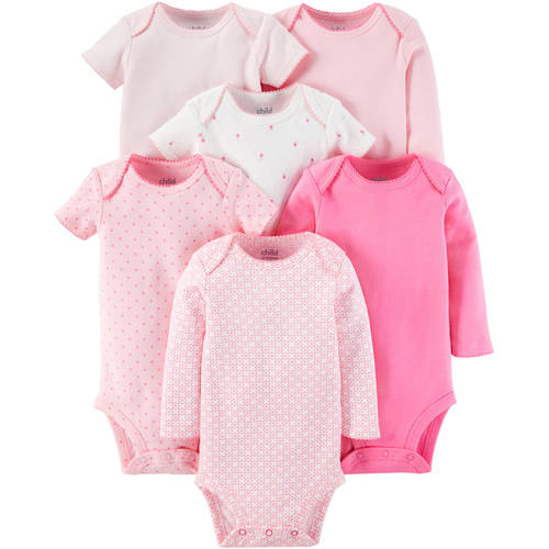 Child Of Mine by Carter's Newborn Baby Girl Bodysuits, 6-Pack