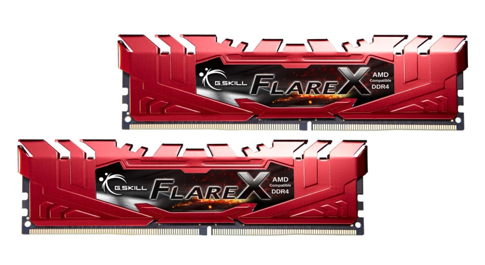 16GB G.Skill Flare X DDR4 2400MHz PC4-19200 for AMD Ryzen CL16 Dual Channel Kit (2x8GB) Red Heatsinks