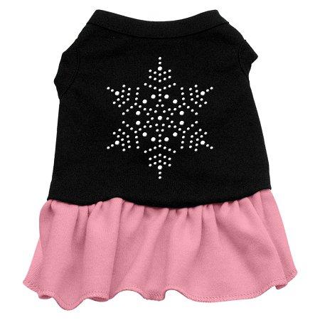 Xs Harness Dress - Snowflake Rhinestone Dress Black with Pink XS (8)