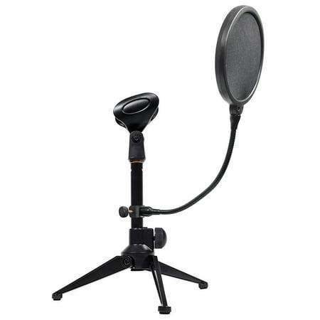 rockville podcast podcasting adjustable dynamic microphone mic stand pop filter. Black Bedroom Furniture Sets. Home Design Ideas