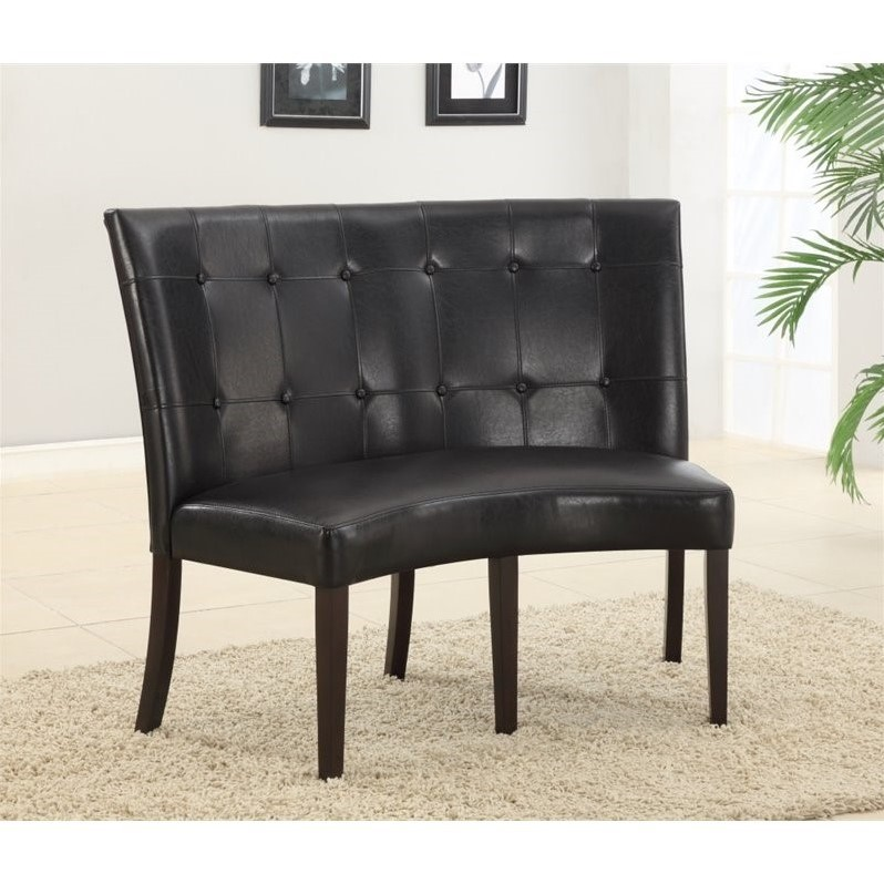Modus Bossa Black Leatherette Banquette in Bold Dark Chocolate Finish