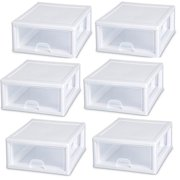 Sterilite 16 Quart Clear Plastic Stacking Storage Drawer Container Box (6 Pack)