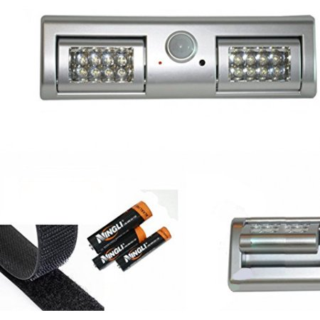 (SleekLighting 16 LED Motion Sensor Closet Light-The light Panels Can Be Adjusted 90 Degrees-Battery Powered batteries included)