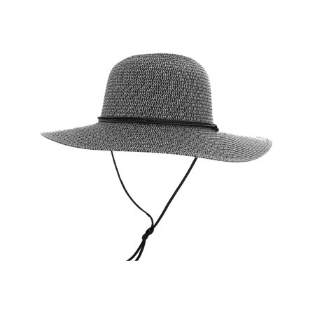 Men   Women s Large Wide Brim Straw Sun Hat w  Chin Strap Black White -  Walmart.com 1890f08cc68