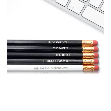 Engraved Pencils (Steve Jobs The Crazy One - Inspirational Pencils Engraved With Funny And Motivational Sayings For School And The)