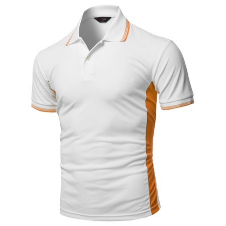 82fb64612 FashionOutfit Men's Solid Contrast Color Line Coolon Fast Drying Polo Shirt