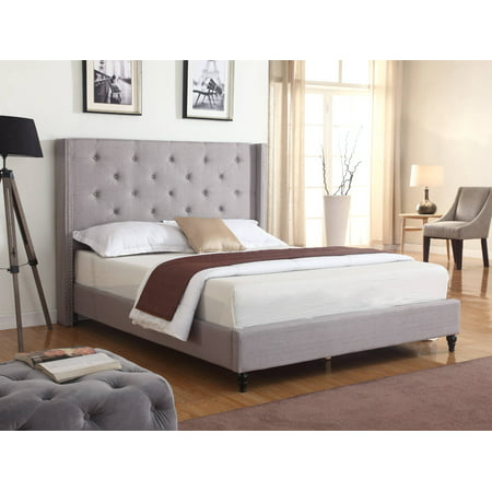 Best Master Furniture Veronica Tufted Wingback Platform Bed Grey,