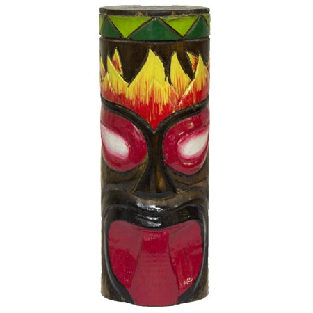 6 Inch Tall Hand Carved, Hand Painted Tiki Totem Pole  - Red-Tongue