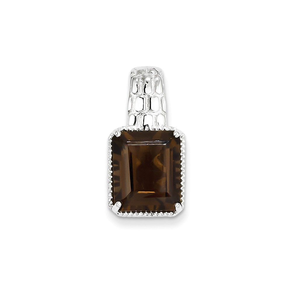 Sterling Silver Smokey Quartz Pendant. Gem Wt- 5ct