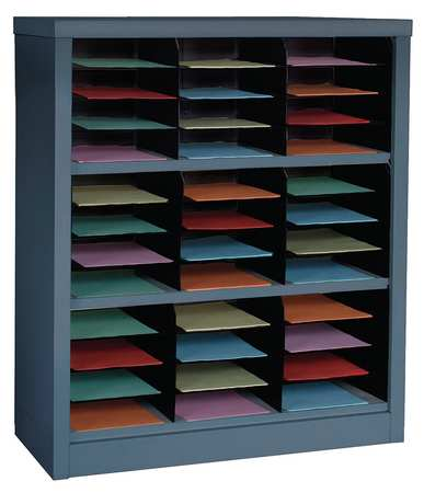 GRAINGER APPROVED Horizontal Literature Organizer 36 Compartments, Gray, 5CRY3 by VALUE BRAND
