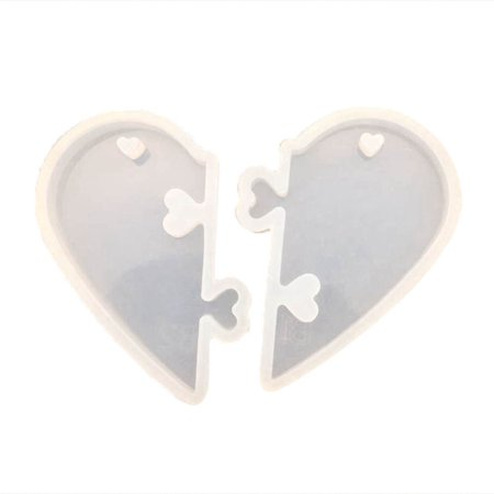 Fancyleo Heart Silicone Pendant Mold Jewelry Resin Necklace Mold Couple Pendant Mold Casting Diy Craft Tool Motherand#39;S Day Gift Glass Casting Molds