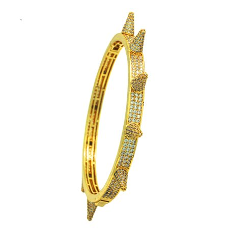 14K Gold Plated Iced Out Hip Hop Bling 3 Row Stone Bangle With Spikes
