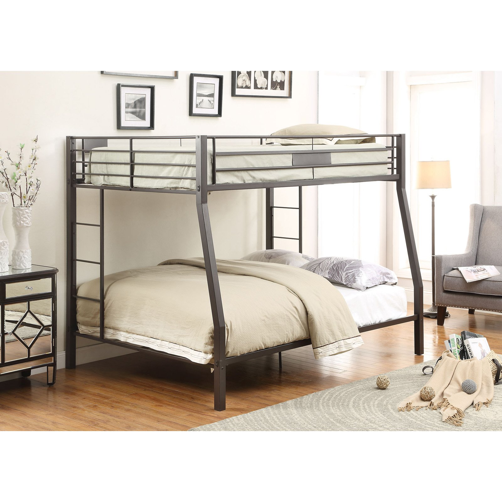 ACME Limbra Full XL over Queen Bunk Bed in Sandy Black, Multiple Sizes