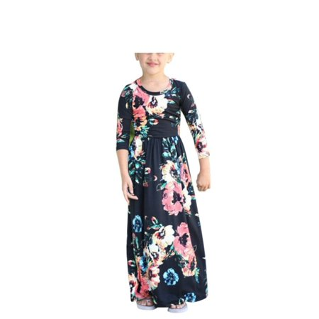 1-10Y Girls Boho Long Maxi Dress Long Sleeve Floral Sundress
