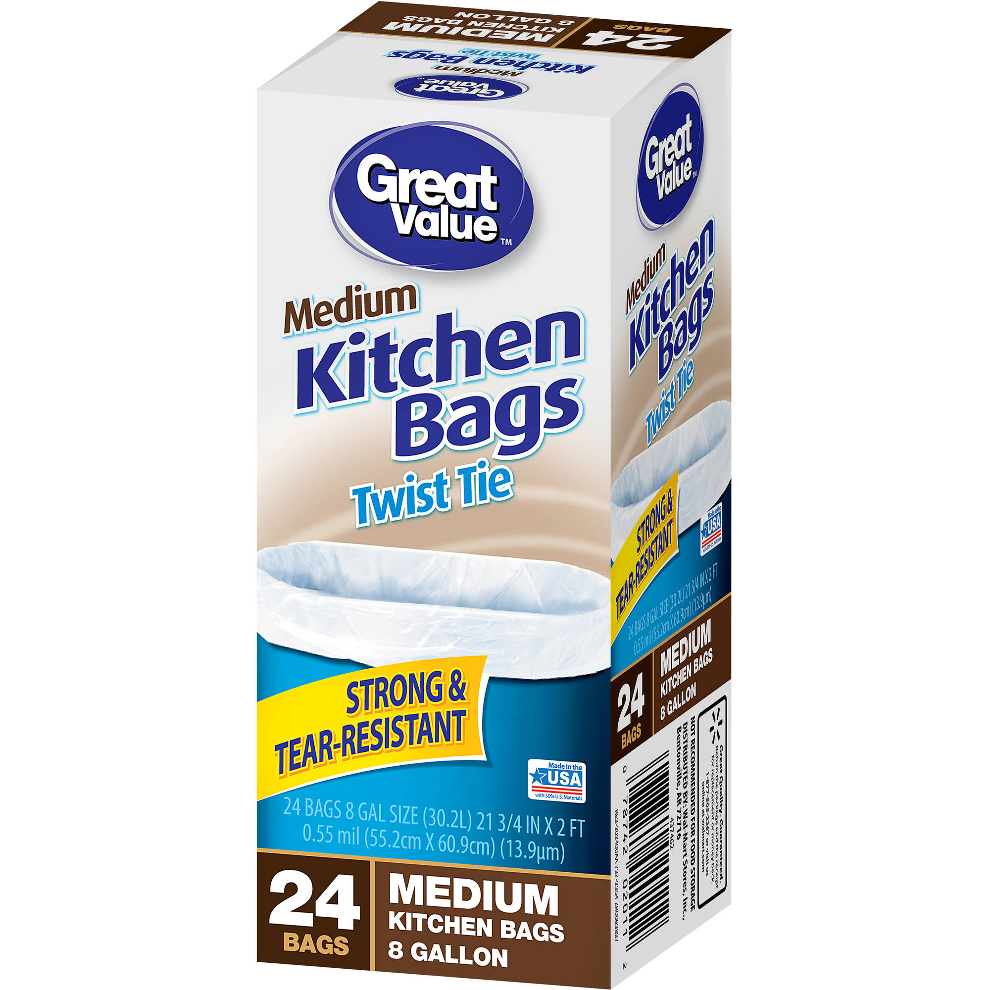 Great Value Twist Tie Medium Kitchen Bags, 8 Gallon, 24 Ct   Walmart.com