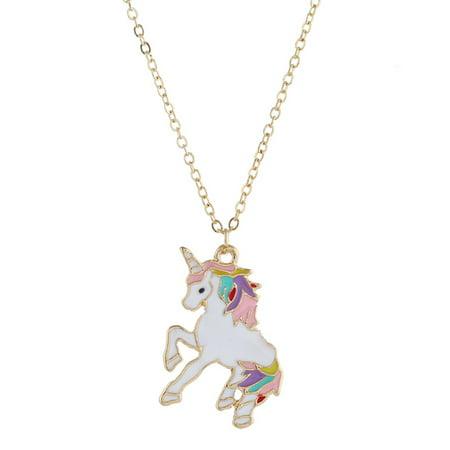 KABOER Rainbow Unicorn Charm Pendant Necklace Magical Birthday Gift