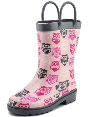 6ec2dc18c9f13 Product Image Puddle Play Children s Girls  Owl Printed Waterproof Easy-On  Rubber Rain Boots (Toddler
