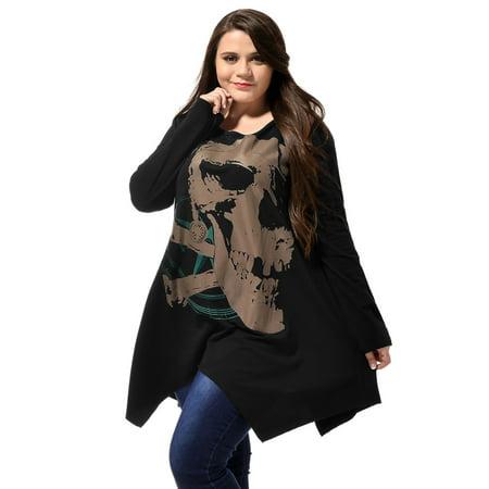 Ladies Long Sleeve Asymmetric Hem Skull Print Plus Size Blouse T-Shirt Black 2X - image 1 of 6
