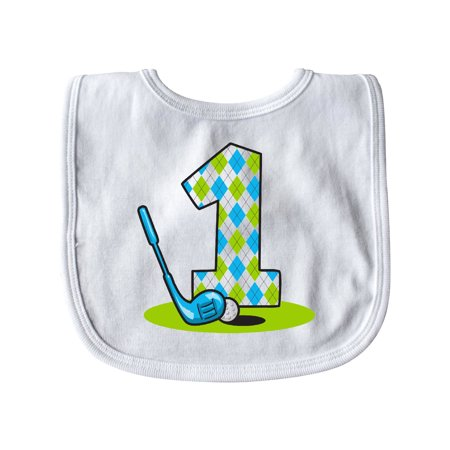 Argyle Golf 1st Birthday Baby Bib White One Size