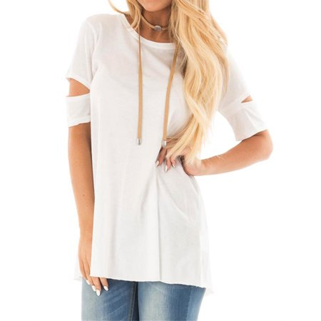 Womens Open Neck Shirt - Nlife Women Casual Crew Neck Cut Out Short Sleeve Open Back Tee Shirt Tunic Top