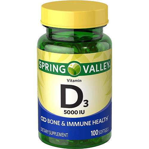 Spring Valley: Vitamin D-3 Maximum Strength Softgels 5000 Iu Dietary Supplement, 100 ct
