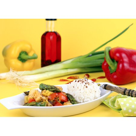 LAMINATED POSTER Halloumi Food Fry Up Asparagus Wok Dish Lunch Wok Poster Print 24 x - Asparagus Dish