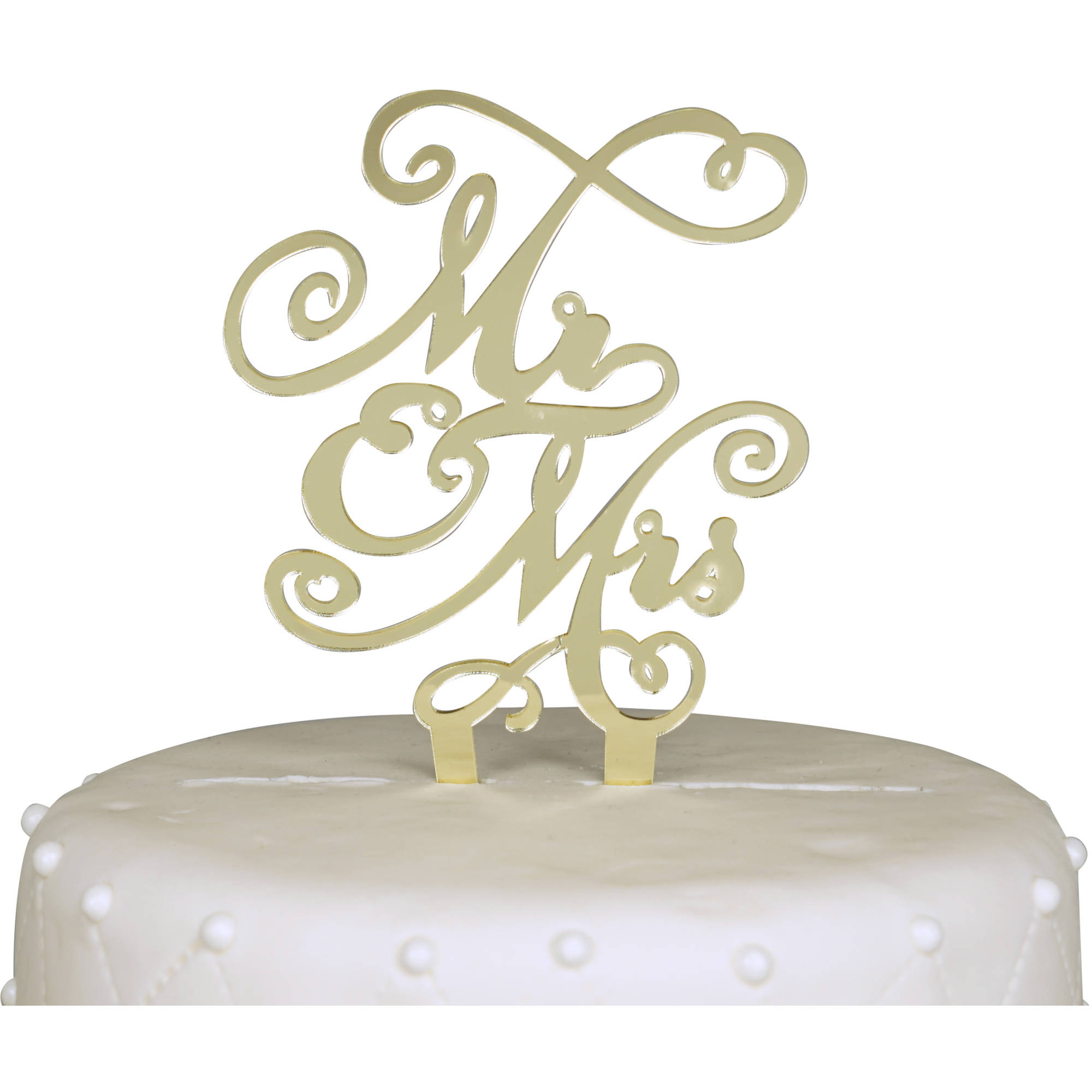 Unik Occasions Mr. and Mrs. Acrylic Cake Topper, Gold Mirror