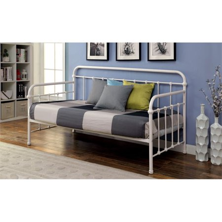 Phenomenal Furniture Of America Gordon Twin Metal Daybed In Vintage White Bralicious Painted Fabric Chair Ideas Braliciousco