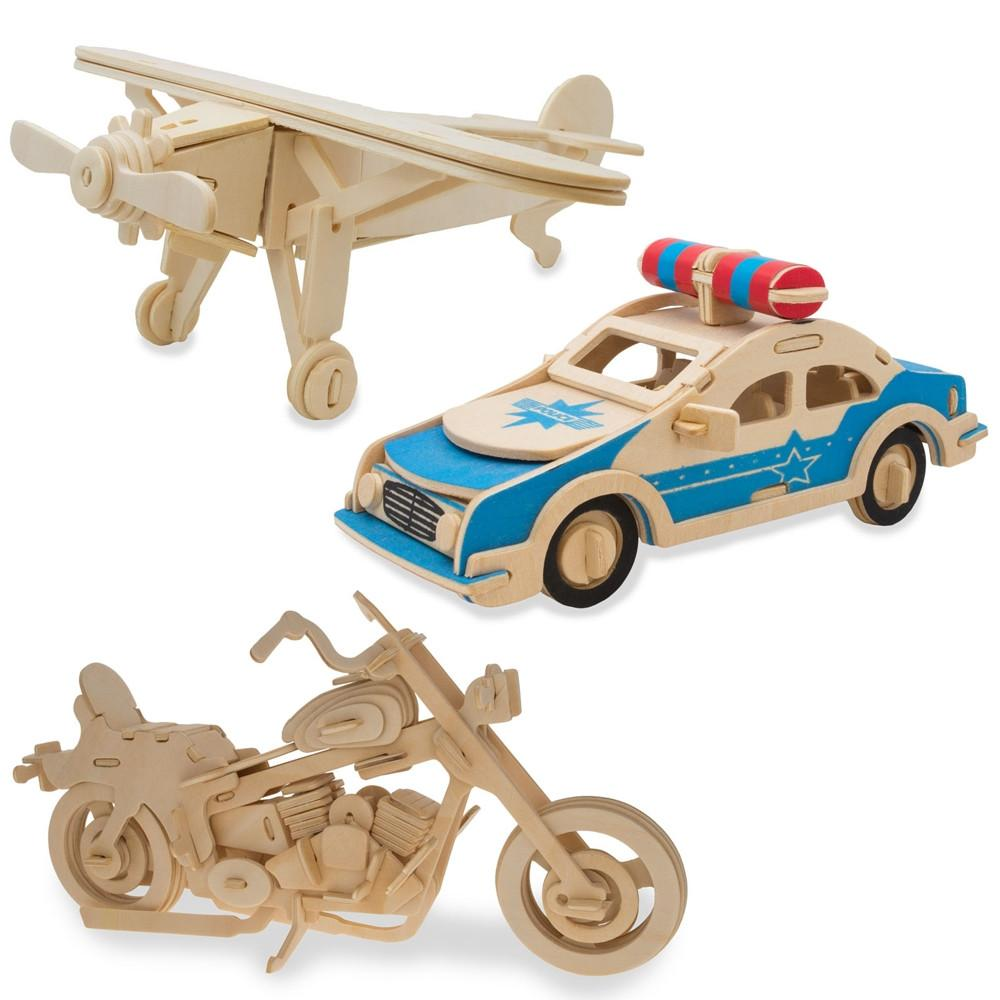 Set of 3- Police Car, Airplane, and Motorcycle Model Kit Wooden 3D Puzzles