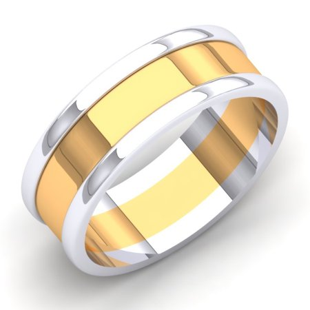 14K White & Yellow Gold Two Tone Polished Shiny Comfort Fit Men's Ring Wedding Band